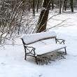 Empty Bench in the Snow — Stock Photo