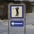 Golf Sign in the Snow — Stock Photo
