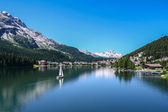 View of Saint Moritz lake with small boat — Stock Photo