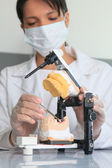 Young woman doctor working in dental prosthesis — Stock Photo