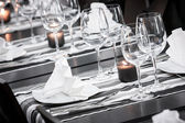 White and black restaurant table setting — Stock Photo