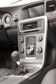 Premium car grey and metallic dashboard — Stock Photo