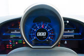 Blue and black high-tech dashboard — Stock Photo