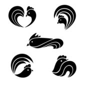The black stylized cocks on a white background — Stock Vector