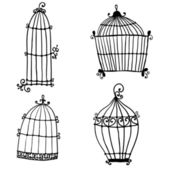 Set of doodle cages for birds — Stock Vector