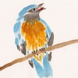 Watercolor drawing of cute bird on a branch — Stock Photo #39866035