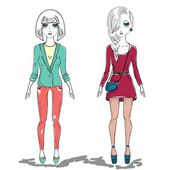 Hand drawn illustration fashion girl, woman — Stock Vector