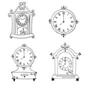 Old vintage clock, hand drawn — Stock Vector