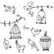 Set of cute birds and branches of trees with bird's cages — Vecteur