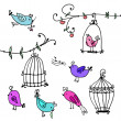 Set of cute birds and branches of trees with bird's cages — Stockvektor