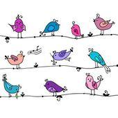 Set of cute birds in vector. — Vetorial Stock