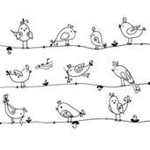 Set of cute birds in vector. — Stock Vector
