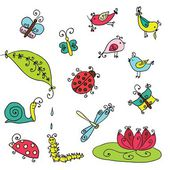Set of funny cartoon insects isolated — 图库矢量图片