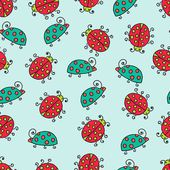 Seamless lady bug illustration background pattern — Vector de stock