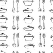 Seamless cute pattern with kitchen items. Vector illustration — Stock Vector