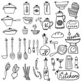 Kitchen set in vector. Stylish design elements of kitchen. — Stock Vector