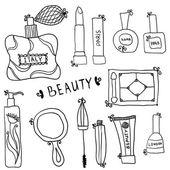 美容和化妆品的图标涂鸦 — 图库矢量图片