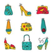 时尚集合女士包包和鞋子. — 图库矢量图片