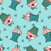 Doodle vector seamless pattern with sweet cupcakes — Vettoriale Stock