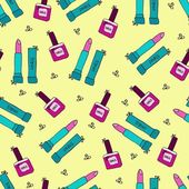 Lipstick Seamless Pattern — Stock Vector