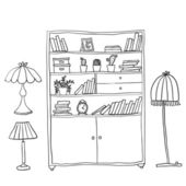 Shelf and lamps - Set of design elements — Cтоковый вектор