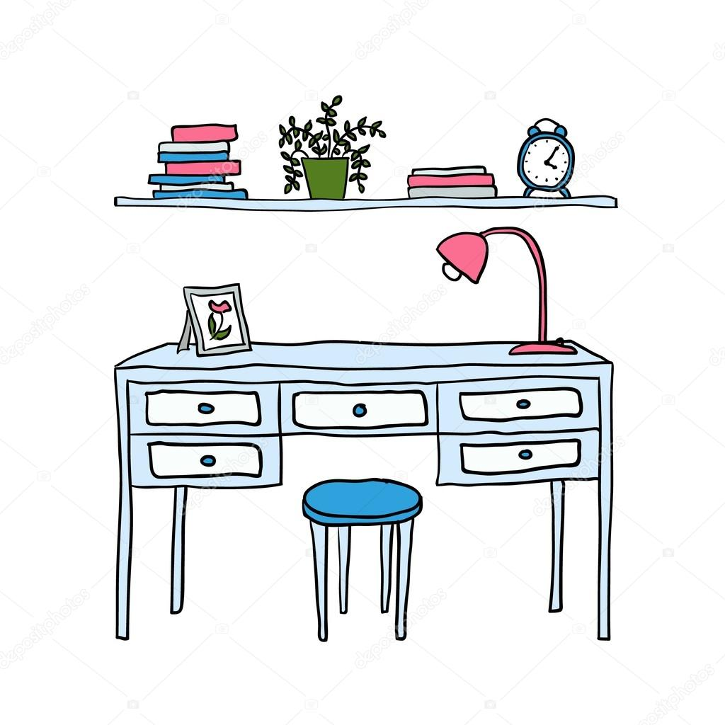 """vector illustrated desk and shelf with books"" стоковое изоб."
