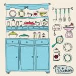 Kitchen set in vector. Design elements of kitchen. — Stock Vector #51184215