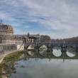 Sant Angelo Castel and Sant Angelo Bridge, Rome, Italy — Stock Photo