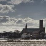 Kathedrale in Ribe, Dänemark gesehen aus dem Sumpf — Stockfoto