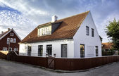 White house in the center of Skagen in jutland — Stock Photo