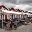 Stockfoto: Traditional restaurants on Skagen harbor, Denmark