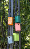Colorful nesting boxes on a light mast — Stock Photo