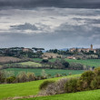 Landscape with green fields in Umbria — Stock Photo