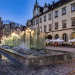 Wroclaw, fountain at the main square — Stock Photo