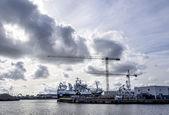 Skagen harbor with shipyard in background — Stock Photo