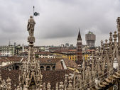 Skyline of Milan, seen from the Duomo di Milano, Italy — Stock Photo