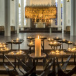 Stock Photo: Candles in Protestant Nikolai church, Kiel