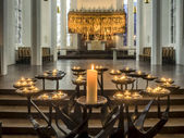 Candles in Protestant Nikolai church, Kiel — Stock Photo