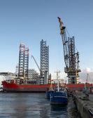 Panorama of Esbjerg oil harbor, Denmark — Stock Photo
