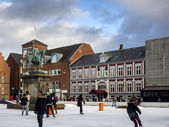 Main square with public ice rink, Esbjerg, Denmark — Stock Photo
