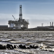 Panoramof Esbjerg oil harbor with rig, Denmark — Stock Photo #41104115