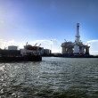 Panoramof Esbjerg oil harbor with rig, Denmark — Stock Photo #41104127