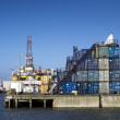 Stock Photo: Panoramof Esbjerg oil harbor with rig, Denmark