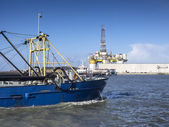 Panorama of Esbjerg oil harbor with rig, Denmark — Stock Photo