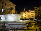 One of the two fountains in Farnese square — Stock Photo