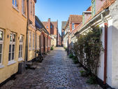 Street with old houses from Ribe in Denmark — Stock Photo