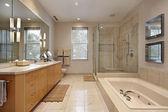 Salle de bain principale avec armoires en bois chêne — Photo