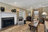 Sala de estar con chimenea — Foto de Stock