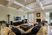Family room with fireplace — Foto de Stock