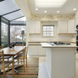 Stock Photo: Kitchen with sliding doors to patio